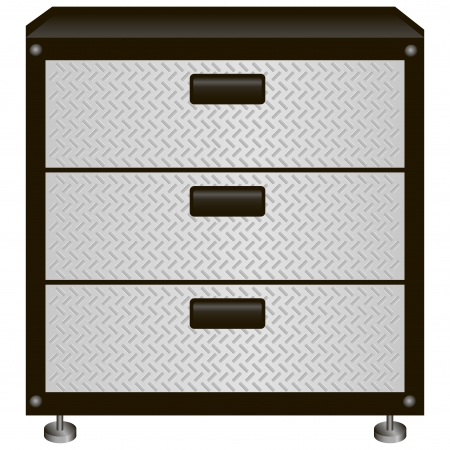 drawers: Steel tool box with drawers. Vector illustration.