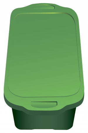 Plastic container with lid for storing objects. Vector illustration.