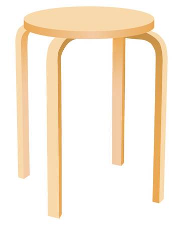 The classic round wooden kitchen stool. Vector illustration.