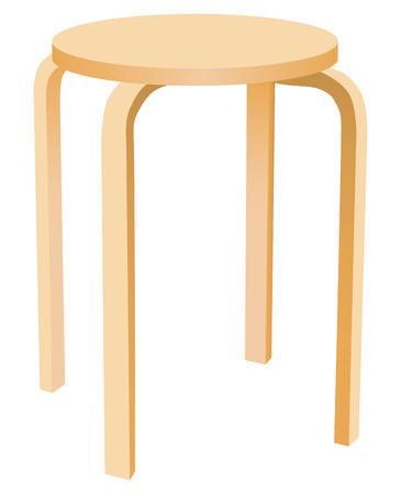 Die klassischen runden hölzernen Küchenstuhl. Vektor-Illustration.