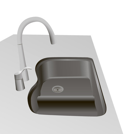 Kitchen faucet with double sink. Vector illustration.