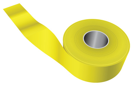 responders: Yellow warning tape used in the fencing scene of the crime or incident. Vector illustration. Illustration