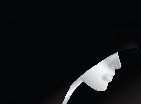 Een jonge man met een kap, een abstract patroon. Vector illustratie.