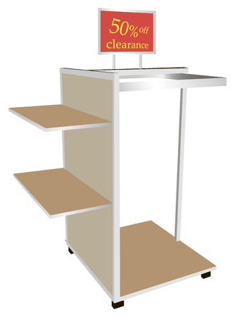market place: Shoplifting sided shelf with hanger and information on discounts. Vector illustration. Illustration