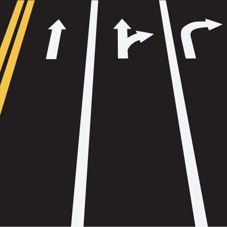 The road markings in three lines and double yellow. Vector illustration.