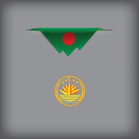 token: State symbols and colors of the flag of Bangladesh Vector illustration. Illustration