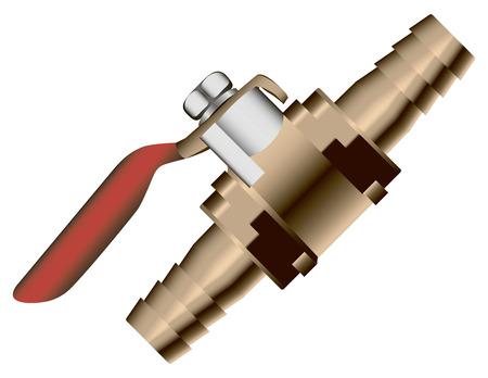 installing: Bronze ball valve off industrial. Vector illustration.