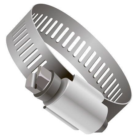 worm gear: Hose clamp steel industrial gear. Vector illustration.