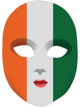 statehood: Classic mask with symbols of statehood of Coast Ivory. Vector illustration