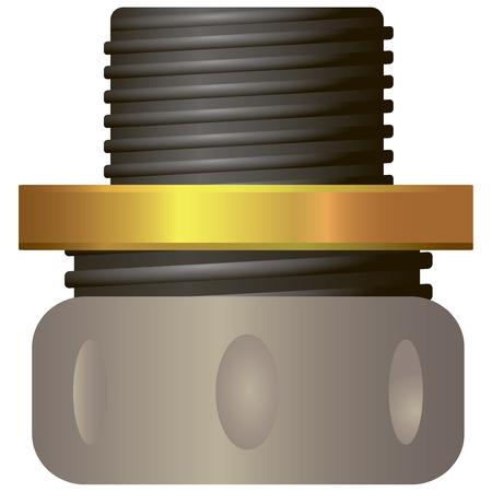 Repair compression hose made of plastic. Vector illustration.