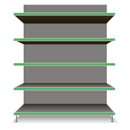 product display: Trading Equipment - Empty shelves for the goods. Vector illustration.