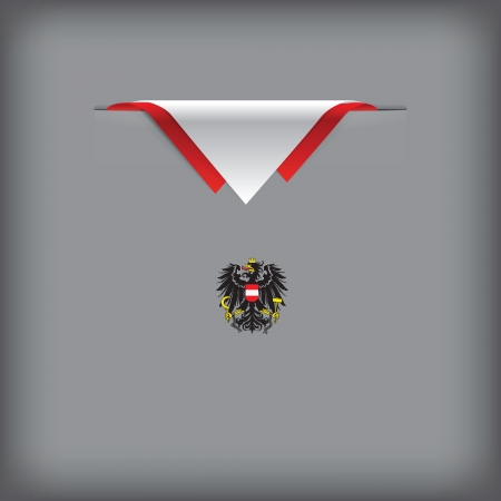 token: State symbols and colors of the flag of Austria Vector illustration.