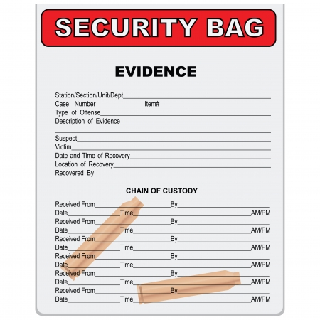 evidence bag: Two sleeves - the evidence in a plastic bag. Vector illustration.