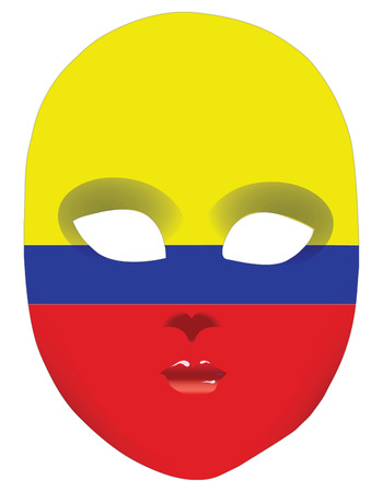 statehood: Classic mask with symbols of statehood of Colombia. Vector illustration