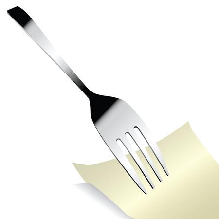 Steel fork with a sticker for notes. Vector illustration. Ilustração
