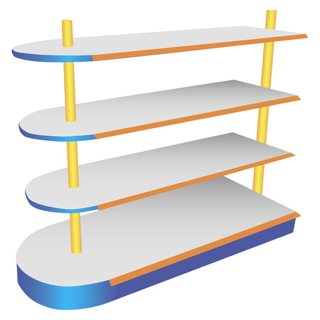 retail display: A commercial shelving oval shelves. Vector illustration.
