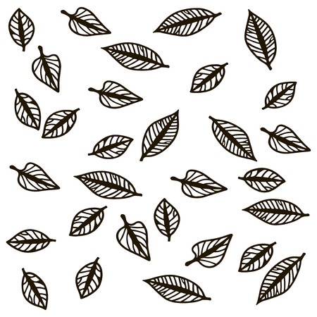 Contours of autumn falling leaves. Vector illustration.
