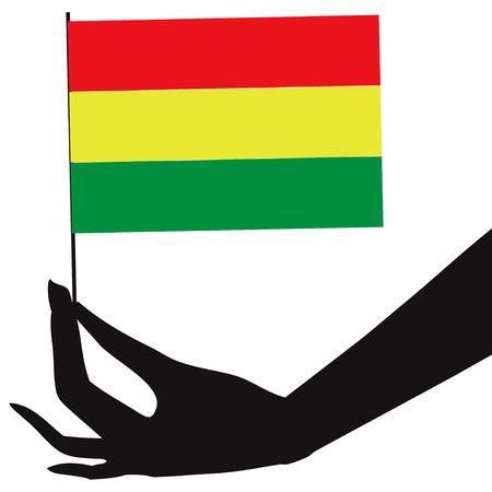 bandera de bolivia: Bolivia bandera en su mano. Ilustraci�n del vector.