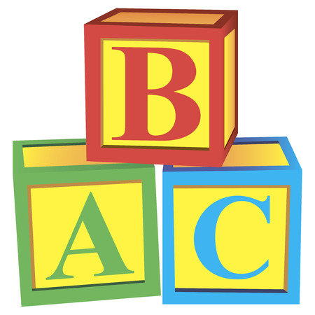 Children with alphabet blocks for learning and play. Vector illustration.