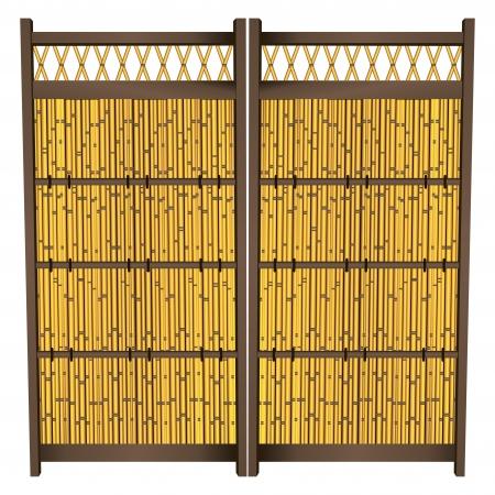 Japanese Bamboo Zen Garden Fence. Vector illustration.