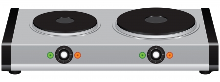 Electric portable stove on a double element. Vector illustration.