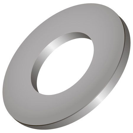 stainless: Round stainless steel industrial washer. Vector illustration.