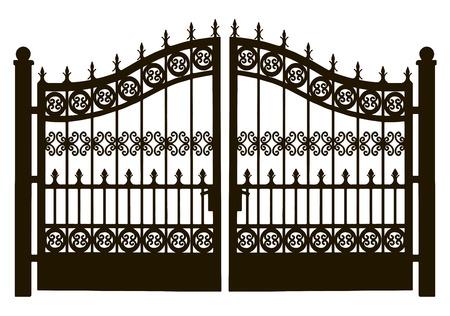 Opengewerkte blad stalen deuren naar de tuin plot. Vector illustratie.