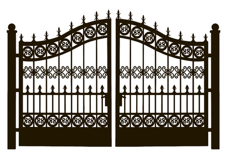 iron gate: Openwork leaf steel doors to the garden plot. Vector illustration. Illustration