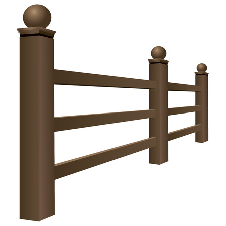 Wooden fence made of parallel bars. Vector illustration.