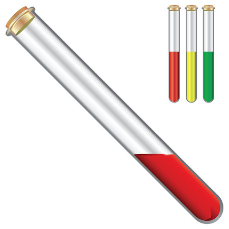 reagents: Test tubes with reagents with a stopper. Vector illustration.
