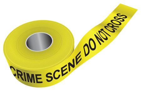 Inscription on yellow ribbon CRIME SCENE DO NOT CROSS. Vector illustration. Banco de Imagens - 24467234