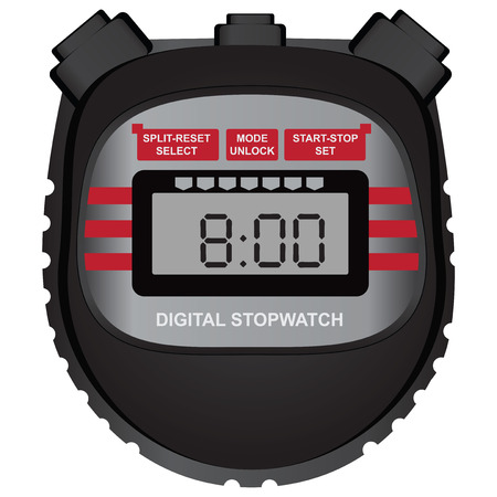 Classic sports multifunctional digital stopwatch. Vector illustration.