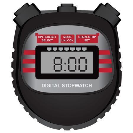 Cronómetro digital multifuncional deportivo clásico. Ilustración del vector. Ilustración de vector