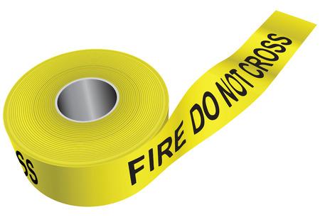hazardous waste: Yellow warning tape - do not cross the fire. Vector illustration. Illustration