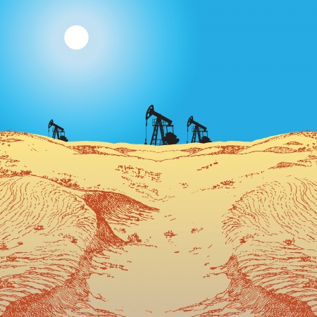 Oil production in the desert, the oil pumps. Vector illustration. 向量圖像