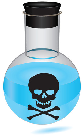 bung: Bottle with blue liquid and a warning - the poison. Vector illustration.