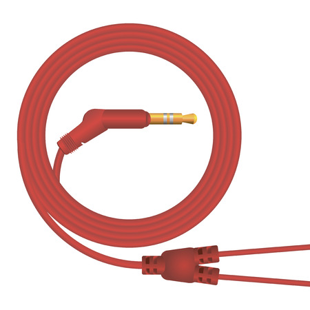 minijack: Rolled cable for connecting headphones. Vector illustration. Illustration