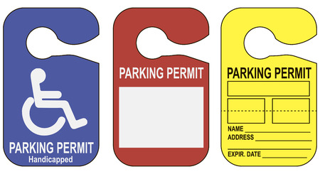 Set parking permits latching on the mirror in the car. Vector illustration. Vettoriali