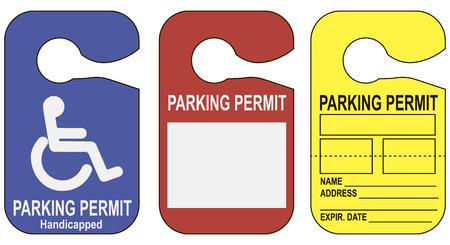 Stel parkeervergunningen aanleggen op de spiegel in de auto. Vector illustratie.