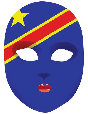 Classic mask with symbols of statehood of Congo. Vector illustration Illustration