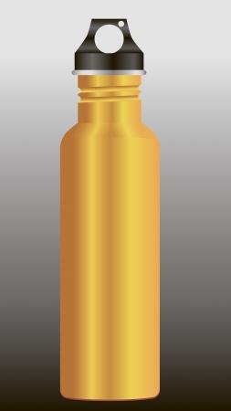 スポーツ活動中に喉の渇きを満たすために鋼の水のボトル。ベクトルの図。