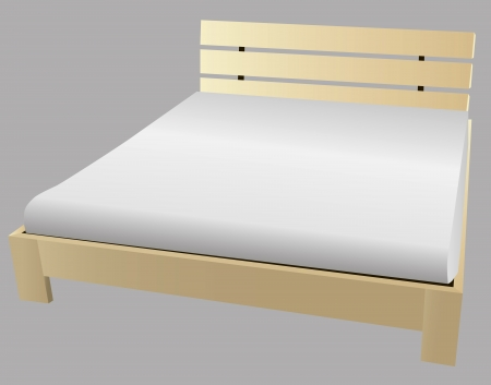 Wooden king size bed with mattress. Vector illustration. Vector