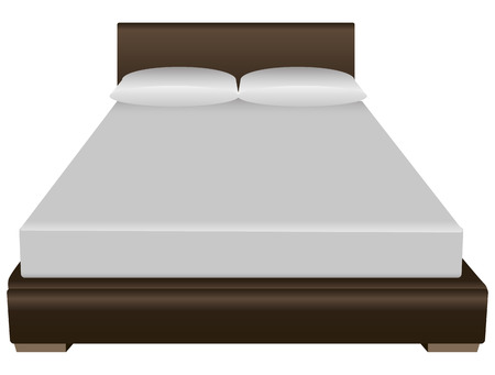 Contemporary double bed with a pillow and sheets. Vector illustration.