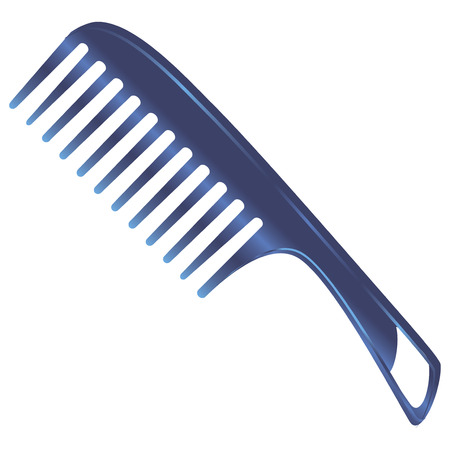 comb out: Plastic comb for women with large teeth. Vector illustration.