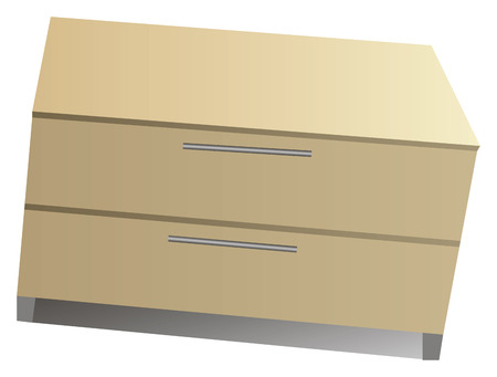 Wooden bedside table with two drawers. Vector illustration. Vector
