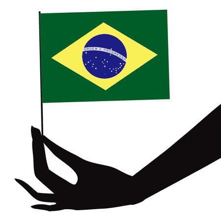 Brazil flag in his hand. Vector illustration. Иллюстрация