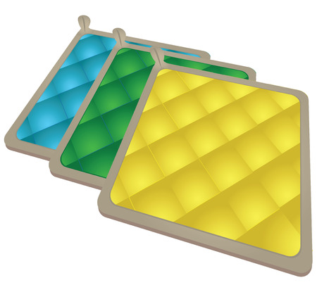 fireproof: Pot-holder. A set of three heat-resistant pads for the kitchen. Vector illustration. Illustration