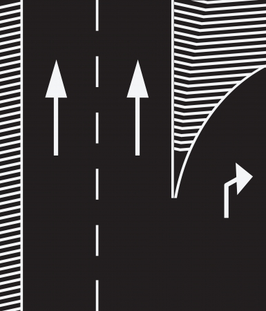 Road markings to branch off the main road exit. Vector illustration.