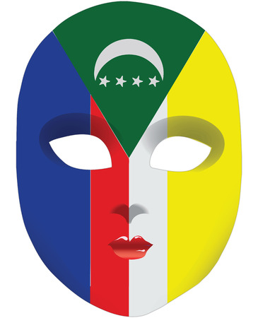 statehood: Classic mask with symbols of statehood of Comoros. Vector illustration
