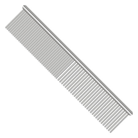 spacing: Steel comb for pets with different spacing between the teeth. Vector illustration.